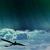 starsandatoms: Hiccup, Astrid, and Toothless against a bunch of gorgeous upper-atmosphere phenomena. ([httyd] flying)