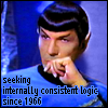 jmtorres: TOS Spock leans face on hand, has mild eyebrow raise. Text: seeking internally consistent logic since 1966 (spock, logic, thingism, trek, fanhistory)