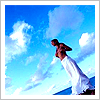 such_heights: a figure in white against the sky (stock: the blue blue sky [subjunctively])