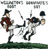sharpiefan: Cartoon Wellington kicking cartoon Napoleon up the bum (Welly's boot)