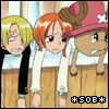 "piratequeen: From the anime One Piece, Sanji, Nami, and Chopper looking dejected ""SOB"" (SOB!)"