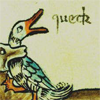 chairman_wow: medieval illustration of a fox biting a duck. It's saying 'queck'. (queck)