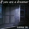 "psyche29: Wardrobe in a dark room with door cracked open and light spilling out, text ""If you are a dreamer, come in"" (dreamers come in)"