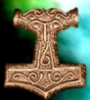 weofodthignen: Mjöllnir with a green and blue background (green hammer)