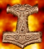 weofodthignen: Mjöllnir with a fiery background (red hammer)