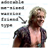"muccamukk: Iolaus laughing. Text: ""Adorable me-sized warrior friend type"" (H:TLJ: Me-Sized Friend Type)"