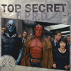 "muccamukk: Abe, Hellboy and Liz with other BPRD agents behind them. Text: ""Top Secret: B. P. R. D."" (Hellboy: Secret Team)"