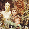 muccamukk: Han Solo, Leia Organa, C-3PO, Chewbacca watch from the bushes. (SW: We're Watching You!)