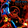 "muccamukk: Cap pulling Iron Man to his feet. Text: ""Help you stand."" (Marvel: Help You Stand)"