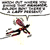 "muccamukk: Jan flying. Text: ""Watch out where you swing that hammer, Golden Boy! There's a lady present!"" (Marvel: Feminism)"