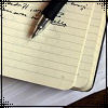 lilyleia78: Open journal with a pen across page (Writing: journal)