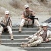lilyleia78: Sam, Jack and Daniel sitting on steps leading to a desert gate (SG1: Chillin at the gate)