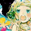 cerusee: a white blonde girl singing with flowers in the background (hagu singing)