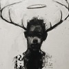 miscellanium: a somber black-and-white drawing of a man with antlers and a halo (my heart fell dead before)