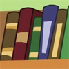 katherine: A line of books on a shelf, in greens and browns (books)