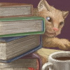 alee_grrl: A kitty peeking out from between a stack of books and a cup of coffee. (Default)
