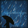 "wintercreek: Silhouette of a person with an umbrella under a multi-colored rain with the text ""starshowers."" ([misc] starshowers)"