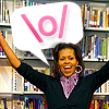 automaticdoor: michelle obama looking super happy with the symbol \o/ (michelle \o/)