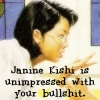 "automaticdoor: a drawing of janine kishi from the bsc with the caption ""janine kishi is unimpressed with your bullshit."" (janine unimpressed)"