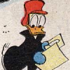 radondoran: Donald Duck in a winter coat and hat, looking at some papers (yuletide)