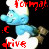 sparkindarkness: crazy smurf with a hammer formatting c Drive (crazy)