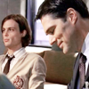 virginiahotchner: Hotch smiling next to Reid in his beige Pendragon sweater! (criminal minds, impish smiles, profilers in love, beige pendragon sweater, hotch/reid)