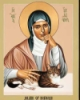 tree_and_leaf: Modern icon of Julian of Norwich with grey and white cat. (Julian of Norwich)