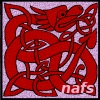 nafs: red dragon on lavendar background - welsh or celtic style (welsh dragon)