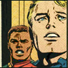 gloss: man gazing into the distance idealistically, backed up by partner (Cap & Falc: so very married)