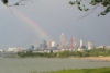 ext_12272: Rainbow over Cleveland, from Edgewater Park overlooking the beach. (Cleveland rainbow)