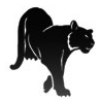 fearlessherosheart: Blockprint of a large, black feline on a white field (Dzur)
