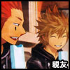 tyger: Axel and Roxas eating ice cream on the clock tower.  Text: 親友 (Axel/Roxas - 親友)
