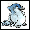 jjhunter: plump little bird looks upward - blue watercolor and ink (blue bird happy)
