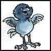 jjhunter: watercolor & ink blue bird raises its wings and opens its beak in joyous song (blue bird singing)