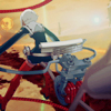 slakemoths: back view of girl in cockpit of giant robot, shoulders tense (04)