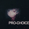 "slakemoths: girl pushing one corner of her mouth up in a smile, text ""PRO-CHOICE"" (07)"