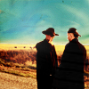 akamine_chan: Joe & Billy on the side of the road, blue sky (HCL - Joe/Billy - roadside)