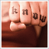"safekeeper: knuckle tattoo of the word ""know"" in gothic font. (Default)"