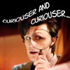 "kindkit: Eleventh Doctor looking through magnifying glass, text: ""curioser and curioser."" (Doctor Who: curioser)"