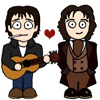 kindkit: Cartoon of Eighth Doctor and Fitz Kreiner with heart (Doctor Who: Eighth Doctor/Fitz love)