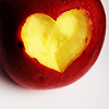 ext_27713: An apple with a heart-shape cut into it (quotes: other: hugs that blanket)