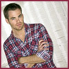 gblvr: photo of Chris Pine wearing a red, white and blue plaid shirt (Chris Pine -- plaid shirt)