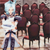 fallen_stage: Kuja standing in front of rows of chairs, arms crossed (No; nor woman neither)