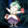 rymenhild: A small toddler puppet carrying a bright red letter. (Uzura has a LETTER)