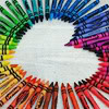 0jack: Photograph of a heart formed from the negative space left by the arrangement of a rainbow of crayons. (All shades of love.)