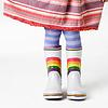 hunningham: Little girl with stripy tights and stripy skirt (Happy)