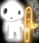 silveradept: A kodama with a trombone. The trombone is playing music, even though it is held in a rest position (Default, kodama, default) (Default)