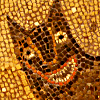 sineala: Detail of a mosaic of the Roman she-wolf; she is smiling. (She-wolf)