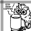 dchan: line art of an owl and a coffee cup, text: OTP: 003+coffee (otp: 003 + coffee)