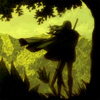 dchan: A silhouetted figure with a sword looking towards some mountains (galatea watching)